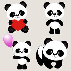 vector illustration set of funny panda