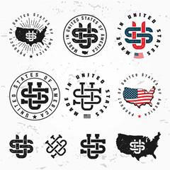 Made in USA monogram vector set. Vintage America logo design. Retro United States seal. US label illustration on grunge background. Hipster t-shirt graphic.