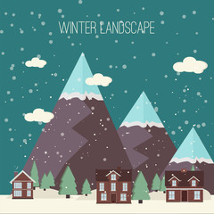Winter Snow Urban Countryside Landscape City Village Real Estate New Year Christmas Night and Day Background Modern Flat Design Icon Template Illustration Mountain top