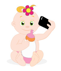 Baby girl taking selfie with milk bottle, vector illustration