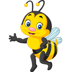 Happy bee presenting cartoon