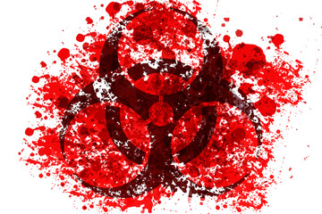 toxic sign with blood splash illustration on white, killing die from toxic concept.
