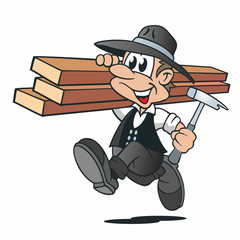 Cartoon Zimmermann Holzbalken Hammer