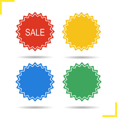 Sale stickers in different colors