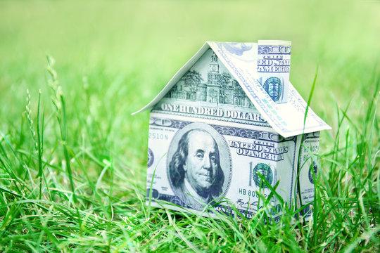 Money house on green grass, closeup