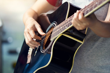 Guitarist on stage, soft focus
