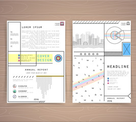 Cover design annual report. Template brochures, flyers, business presentations. Modern flat line style, layout in A4 size