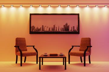 The living room in beige tones. 3d illustration