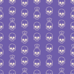 seamless purple skulls and crowns