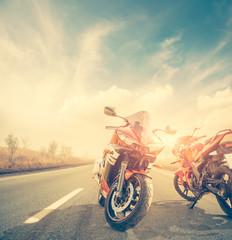 motor bikes on sunset road