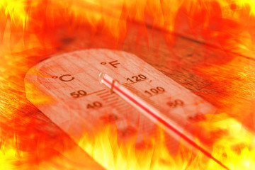 hot thermometer, fire temperature heat day concept.