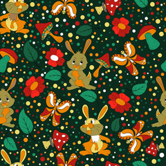 Seamless pattern. Hare, butterfly, mushrooms. texture for design