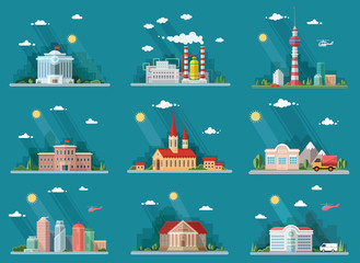 Mega Set of icons for your design. School, Town Hall, university