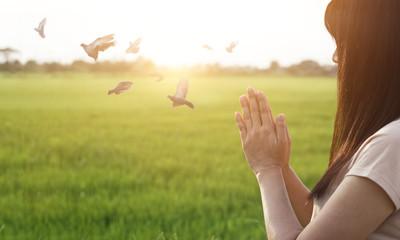 Leinwandbilder - Woman respect and pray on nature background
