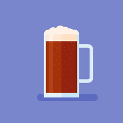 Mug with dark beer flat style icon on blue background. Vector illustration.