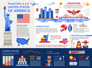 USA Travel Info - poster, brochure cover template
