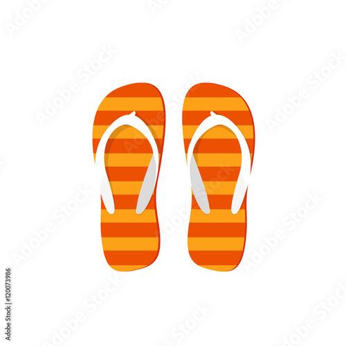 27dfa8704f34 Orange flip-flops vector illustration isolated on white background ...