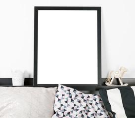 Mock up poster frame in home interior background