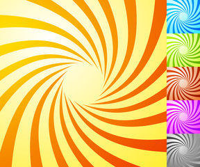 Spiral starburst, sunburst background set. Lines, stripes with t