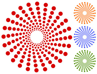 Dots, circles circular motif, element. Radiating, radial dots.