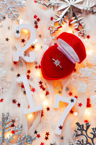 Christmas And New Year 2017 Background With Engagement Ring Light