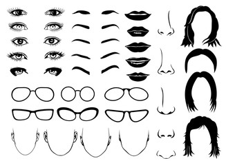 Woman face parts, eye, glasses, lips and hair. Vector female portrait set