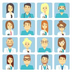 Doctor and nurse flat vector avatars