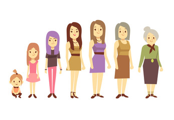 Women generation at different ages from infant baby to senior old woman vector illustration
