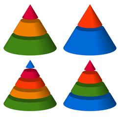 Pyramid, cone charts. 3-2-5-4 levels. Multilevel triangle 3d gra