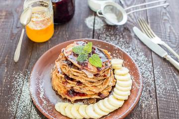 Pancakes with Banana and Strawberry Jam