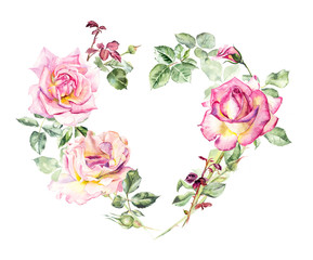Frame heart from roses. Wedding drawings.