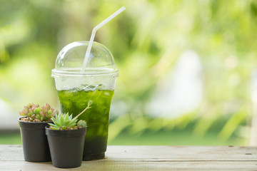 ice green tea matcha, cool healthy drink in hot summer day