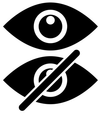 Eye symbols as show, hide, visible, invisible, public, private i