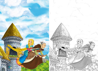Cartoon fairy tale scene with princess flying on the broomstick with the witch - beautiful manga girl - illustration for children