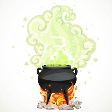 Witches cauldron with green potion and steam to heat the object