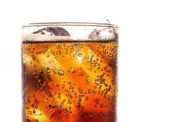 closeup cool ice drink cola, hot heat day softdrink to fresh with copyspace