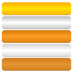Gold, silver, bronze, platinum, copper metal bars, banner backgr