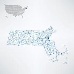 Wall Mural - Abstract Massachusetts / USA telecommunication map concept
