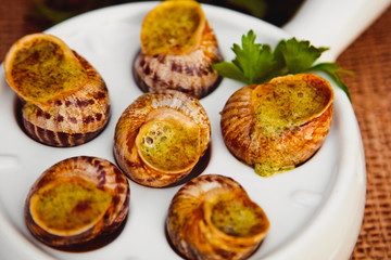 Photo: Escargots de Bourgogne - Snails with herbs butter, gourmet dish ...