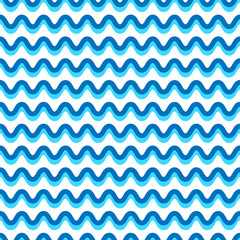 Wavy lines seamless repeatable pattern in aqua, blue colors