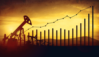 3d illustration of oil pump jacks on sunset sky background. Concept of growing oil prices