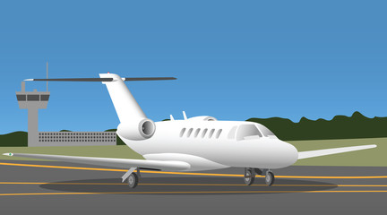 Business jet in the airport