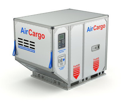 Air cargo container with metal pallet