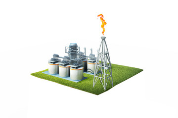 3d illustration of aerial view oil refinery