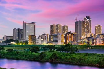 Kawasaki, Japan downtown skyline.