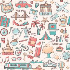 Tourism and travel destination seamless pattern