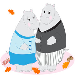 Cute cartoon animals, Doodle drawing hippos, love and tenderness