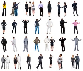 collection Back view of business people . Rear view people collection. backside view of person. Isolated over white background. couples, teams, and people engaged in office work alone