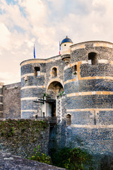 Chateau d'Angers - castle in Angers city. Loire Valley, France.