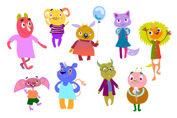 Set of bright multicolored monsters. Funny fantastic creatures. Cute characters for children's design. Positive fantastic humanoids. Hand Drawn elements. Clipart, vector illustration eps 10.